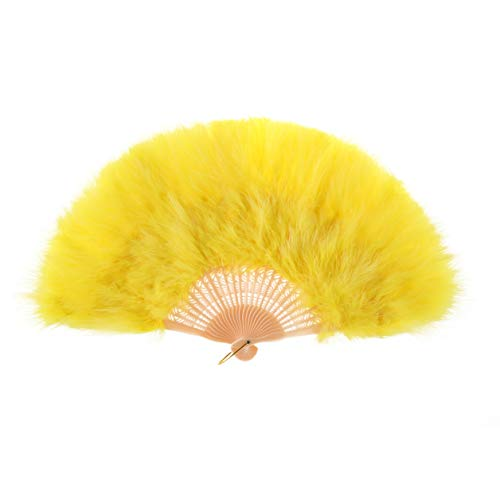 Metme Hand Fan Flapper Costume Accessories Roaring 20s Feather Folding Handheld for Dancing Party