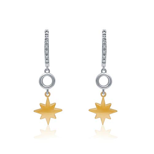 UNIVERSE FINE JEWELRY - Diamond-Accent Two-Tone Star Dangle Mini-Hoop Earrings Inspired by Marvel's Captain Marvel.