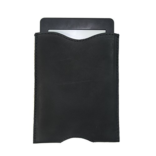 Hide & Drink Durable Leather Sleeve for Kindle Paperwhite/Kindle Voyage/All-New Kindle(8th Gen, 2016)/Kindle Oasis 6-Inch E-Reader Handmade by Charcoal Black