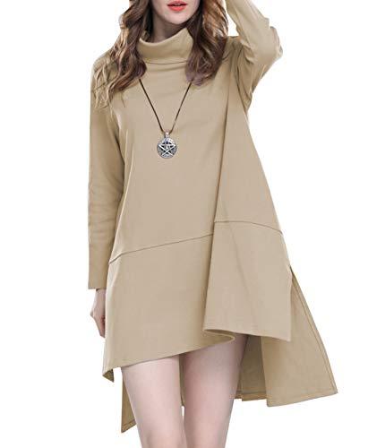 Beige Lâche T Robe Ourlet Mode La À Décontracté Asymétrique Dy225 Ellazhu Femme shirt WZ8w7Uqc0