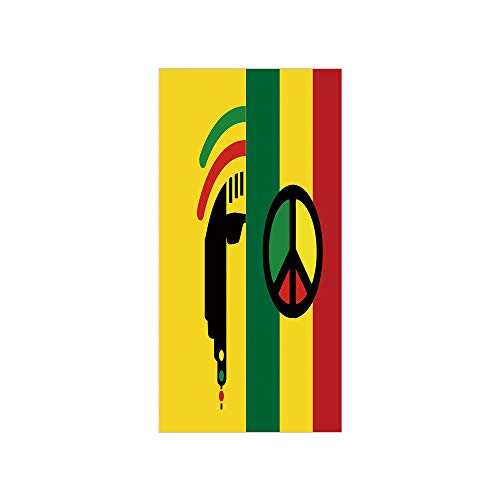 3D Decorative Film Privacy Window Film No Glue,Rasta,Iconic Barret Reggae and Jamaican Music Culture with Peace Symbol and Borders Decorative,Red Green Yellow,for Home&Office