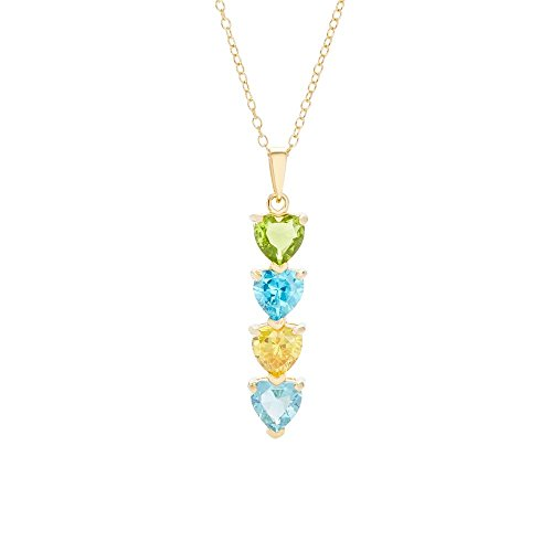 4 Simulated Stone Heart Drop Mother's Necklace