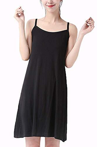 (XUJI Women Full Slips Dress, Cotton Blend Spaghetti Straps Long Cami Slip Nightwear (Black-S-XL))