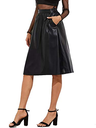 JOAUR Women's PU Leather Midi Skirt Pleated High Waist Skate Skirt with Pockets by JOAUR (Image #1)