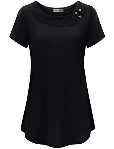 Miss FMiss Fortune Short Sleeve Tunics for Women to Wear with Leggings, Cowl Neck Tops Flared Fit Flattering Shirts Business Casual Tunic A Line Summer Clothing Maternity Wear, Black L