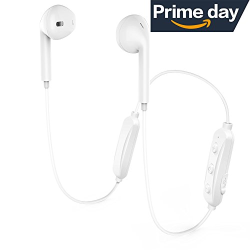 Wireless Bluetooth Headphones, Bluetooth 4.1 Earbuds Sport Stereo Headset, Noise Cancelling Sweat Proof Earphones - White