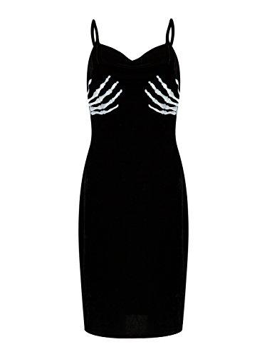Wedding Dress For Halloween Costume (PERSUN Womens Sexi Black Halloween Skull Hands Velvet Bodycon Mini Cami Dress,X-Large)