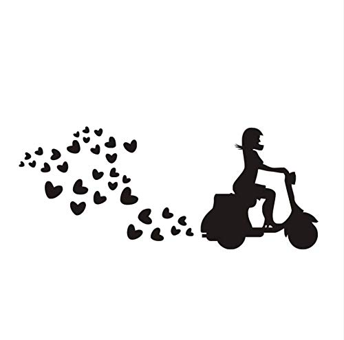 Dencey Bzqt Riding Scooter Heart-Shaped Pattern Wall Decal Removable Wall Stickers for Kids Room Lovely Cartoon Wall Art 6543Cm