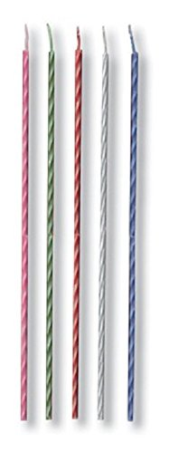 Club Pack of 480 Two-Tone Pink, Red, White, Green and Blue Spiral Decorative Party Candles 8''