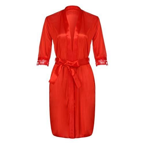 XLnuln Women Lingerie Lace Babydoll V Neck Sleepwear Strap Chemise Lace Babydoll Lingerie Mesh Nightgown Robe Dress Red
