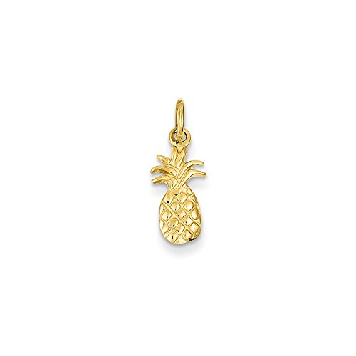 14K Yellow Gold Polished Pineapple Charm 19x7mm