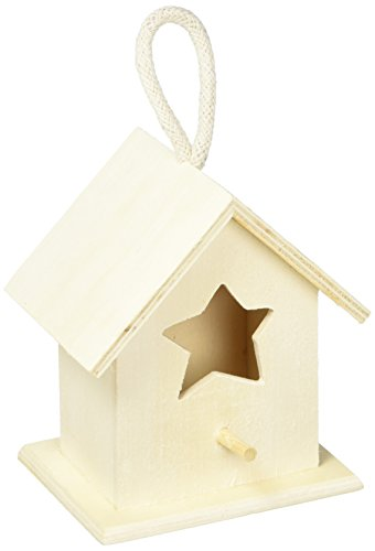 Darice Bird House-3 Assorted Styles Unfinished Wood Birdhouses, 4.3