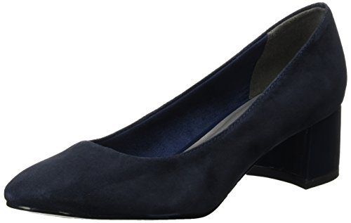 Tamaris WoMen 22306 Closed-Toe Pumps Blue (Navy Suede)