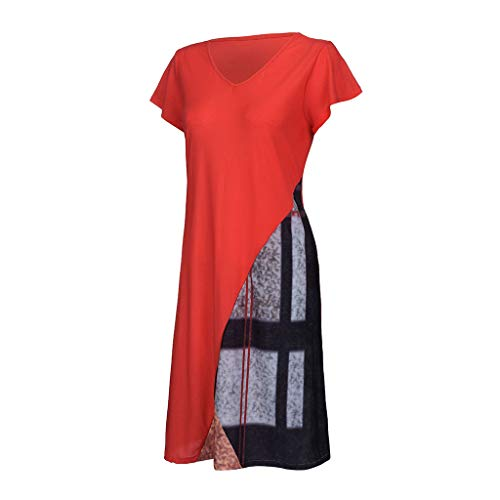 Plus Size Fashion Womens Casual V-Neck Paneled Printing Short Sleeve Dress by VEZAD (Image #2)