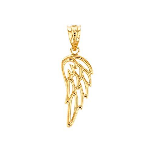 Religious Jewelry by FDJ Fine 10k Yellow Gold Guardian Angel Filigree Wing Charm Pendant