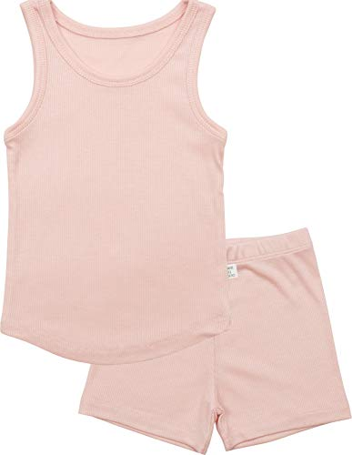 AVAUMA ICE Plain Sleeveless Newborn Baby Little Boy Girl Pajamas Summer Sets Pjs Kids Clothes (JS/Pink)