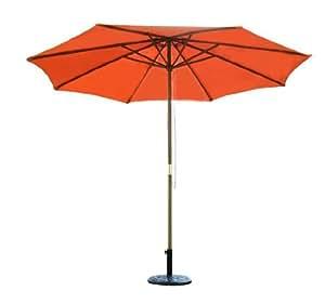 Outsunny - Sombrilla parasol color tierra madera terraza playa jardin piscina camping