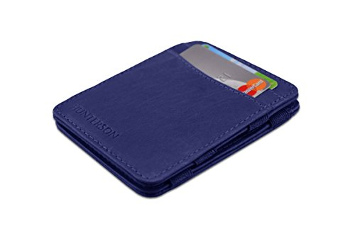 Hunterson Ultra Slim Leather Handmade Magic Wallet (Blue)