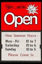 Red Hot Sunny Open / Closed Sign with sliding message board Closed Sliding Sign