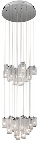Elan Lighting 83095 Zanne 30LT 2-Tier Pendant, Chrome Finish and Hand-Formed Clear Glass with Flame Chipped Inside