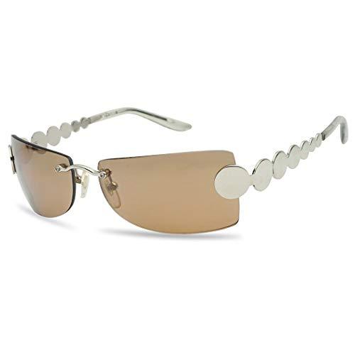 Retro Rimless Rectangular Squared Light Tinted Sunglasses 70's Vintage Disco Novelty Sun Glasses (Silver Frame | Brown)]()