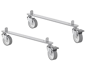 IKEA Kallax Steel Rail Hardware with Casters For Home or Office Furniture Pieces [2 Pack Includes 2 Rails, 4 Wheels]