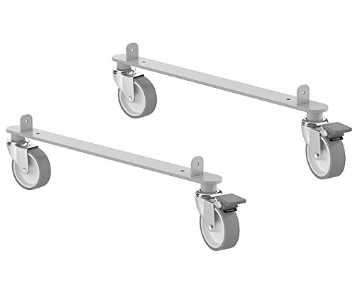 IKEA Kallax Steel Rail Hardware with Casters For Home or Office Furniture Pieces [2 Pack Includes 2 Rails, 4 Wheels] -