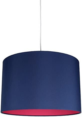 Urbanest Marie Duo Color Shade Pendant with Hanging Light Kit, Navy Blue Cotton with Fuchsia Lining, 15 1 2-inch Diameter, 10-inch Height