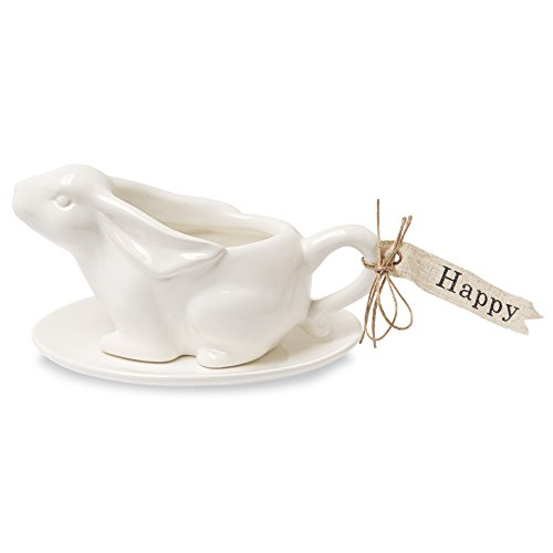 Mud Pie Ceramic Bunny Sauce Boat Set, White Ceramic Gravy
