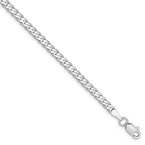 14k White Gold 2.9mm Beveled Link Curb Bracelet Chain 7 Inch Flat Fine Jewelry Gifts For Women For Her