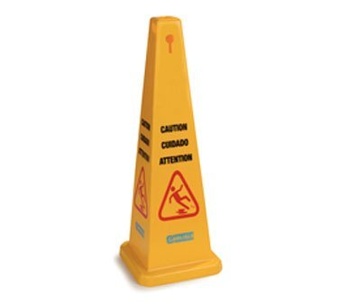 Carlisle Safety Cone Floor Sign, ''Caution'', 12-1/2''W x 36''H, triangular, 360° visibility, multi-lingual (English/Spanish/French), polypropylene, yellow, 3694104