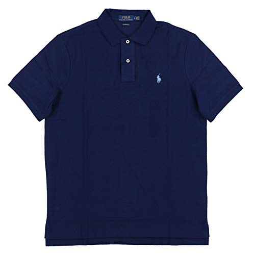 - Polo Ralph Lauren Mens Classic Fit Mesh Polo Shirt - L - Navy (Light Blue Pony)