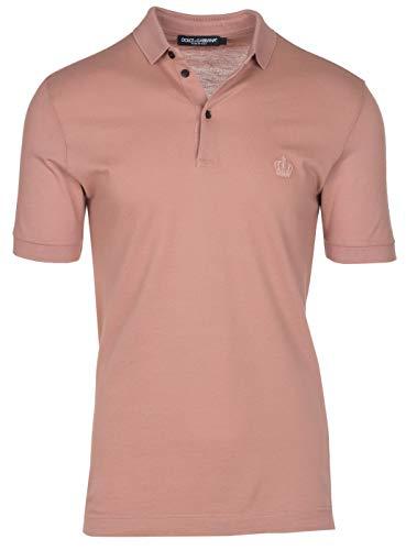 Dolce & Gabbana Men's Light Pink Crown 'Corona' Short Sleeve Polo Shirt, Pink, EU 44 / US (Gabbana Mens Clothing)