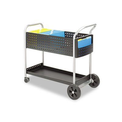 Scoot Mail Cart, One-Shelf, 22-1/2w x 39-1/2d x 40-3/4h, Black/Silver, Sold as 1 (5239bl Scoot)