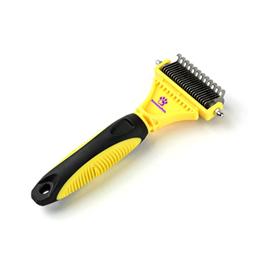 AwesomePets - Dematting, Deshedding Tool and Comb for Dogs, Cats Matted Hair Remover with 12+23 Teeth, Round, Sharp, Safe and Skin Massage Effected Rake for All Types Haired Pets (Random Color)