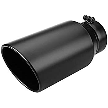 aFe Power 49T50702-B12 5 Inlet x 7 Outlet x 12 Length Black Stainless Steel Bolt-On Diesel Exhaust Tip