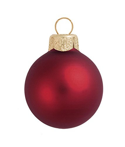 8ct Matte Burgundy Red Glass Ball Christmas Ornaments 3.25