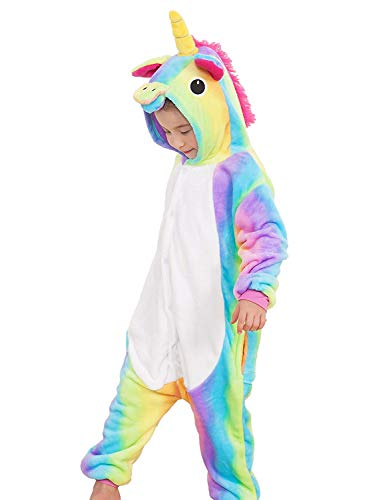 Girls and Boys Unicorn Pajamas Soft Fleece Halloween Costume Rainbow ()