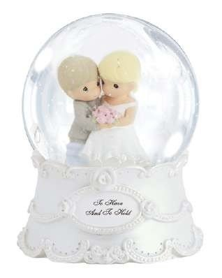 Precious Moments Wedding Figurine with Westbraid Doily (Musical Water Globe)