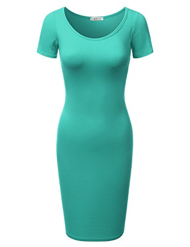 Printed in Women Fitted mint USA Plus amp; Awdmd0227 Size Dress Doublju Midi Short Sleeve Solid Bodycon Made wqxnEOTXz