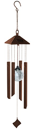 Red Carpet Studios Solar Powered Color-Changing Wind Chimes, Rustic