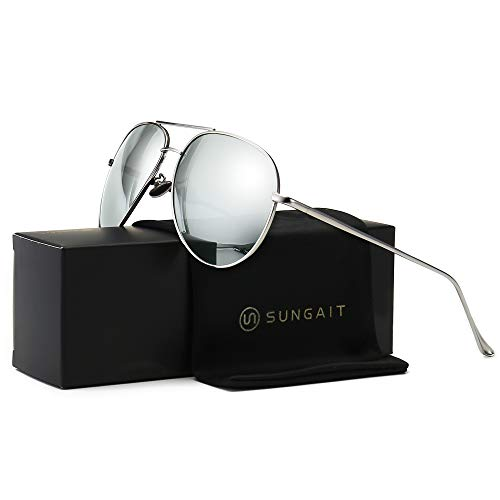SUNGAIT Women's Lightweight Oversized Aviator sunglasses - Mirrored Polarized Lens (Sliver Frame/Sliver Mirror Lens, 60)1603YKSY