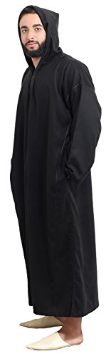 Moroccan Men Djellaba Handmade Winter Cotton Delicate Embroidery Black Large to X-large Hooded Caftan