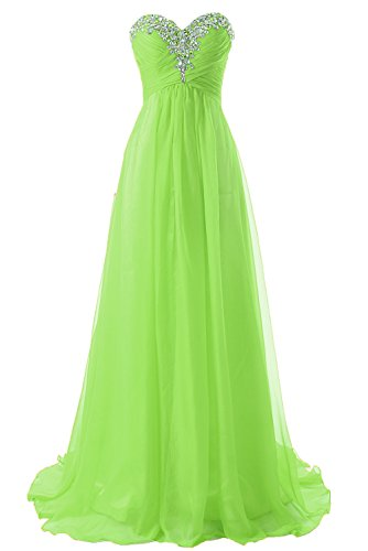 JAEDEN Prom Dress Bridesmaid Dresses Long Prom Gowns Chiffon Formal Evening Gown A line Evening Dress Lime Green US14