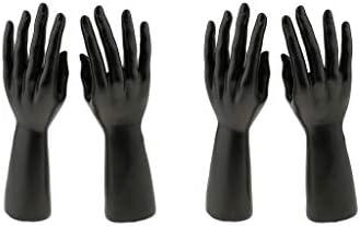 perfk 2ペアマネキン手形指ジュエリーディスホルダーチェーンブレスレットバングルリング時計手袋黒