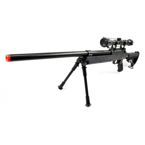 Spring Bolt Action Well m187d fps-550 Metal Airsoft Sniper Rifle Gun w/Scope, bi-pod(Airsoft Gun)