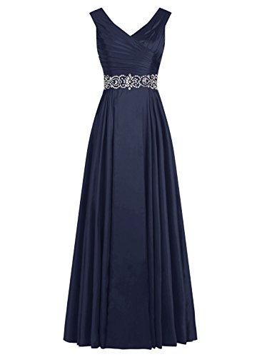 Tideclothes ALAGIRLS Long V Neck Prom Dress Pleats Satin Beading Evening Gowns Navy US6