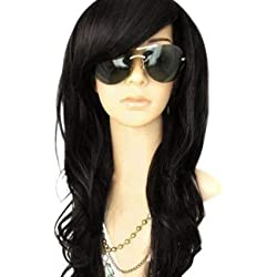 """MelodySusie Black Long Curly Wave Wig for Women - 34""""Curly Wig with Inclined Bangs Synthetic Cosplay Daily Party Wig Natural as Real Hair (Black)"""