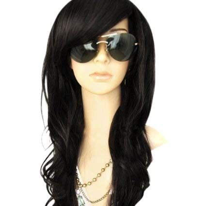 MelodySusie Black Long Curly Wavy Wig for Women, 34 Inches Synthetic Hair Wig with Inclined Bangs Halloween Cosplay Daily Party Wig Natural as Real Hair with Free Wig Cap, Black -