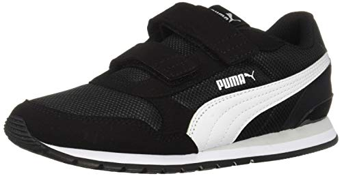 (PUMA Unisex ST Runner Velcro Sneaker black- white-gray violet 13.5 M US Little Kid)